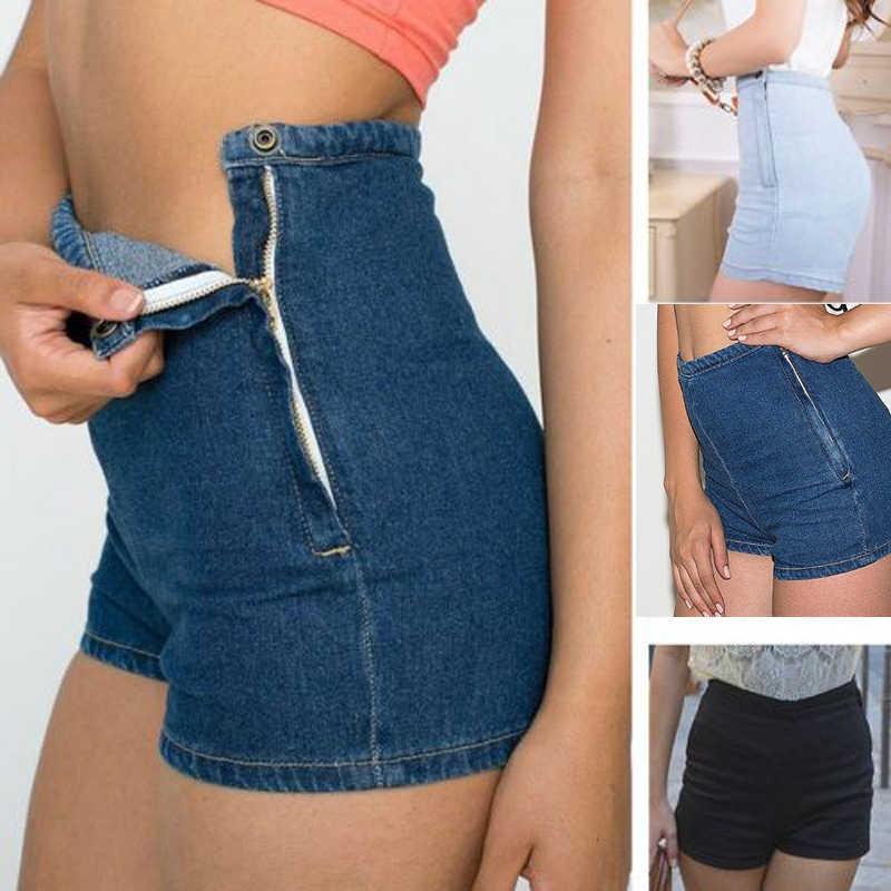 Sexy Denim Shorts Frauen Dünne Hohe Taille Jeans Tap Kurze Hot Shorts Engen Seite Taste Waschen Damen Kurze Hosen Hosen