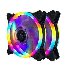 2 шт Компьютерный Вентилятор 120 мм cpu LED вентилятор pc Вентилятор 11 лопастей 4 вида цветов или 5 видов цветов кулер для воды 120 мм pc Вентилятор Кулер двойной круг LED вентилятор