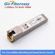 Модуль SFP RJ45 гигабитный, 1000сбит/с, TX, SFP, RJ45 медный коммутационный модуль, совместимый с гигабитным волоконно оптическим модулем Cisco/Mikrotik SFP