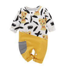 infant winter clothes Baby Girls Boys Long Sleeve Cartoon Animals Stitching Stripe Pocket Newborn Clothes Jumpsuit Coveralls(China)