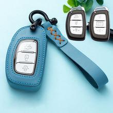حافظة مفاتيح سيارة جلدية من هيونداي توكسون كريتا ix25 ix35 i20 i30 HB20 إلنترا فيرنا ميسترا 2015 2016 2017 2018 2019 ملحقات
