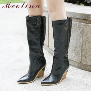 Image 2 - Meotina Winter Embossed Knee High Boots Women Strange Style High Heel Western Boots Pointed Toe Tall Shoes Autumn Gold Size 3 12