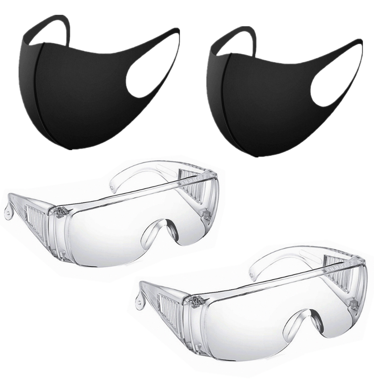 2PCS Safety Goggles Glasses+ 2 Masks Dust-Proof Transparent Working Glasses Lab Dental Eyewear Splash Eye Anti-wind Glasses Mask