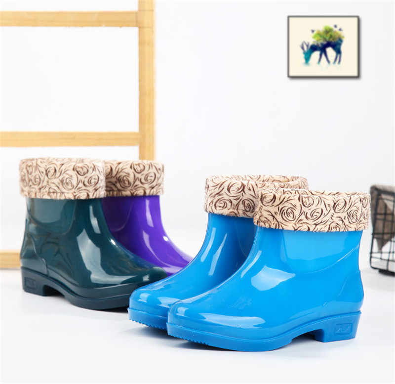 Rainboots Stivali Della Caviglia Delle Donne Della Ragazza Chelsea Stivali Da Pioggia Calzature Impermeabili Delle Signore Scarpe di Gomma Anti-Skid Scarpe Mujer Botas