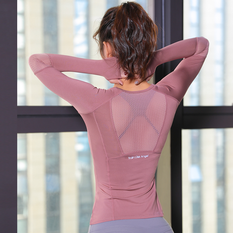 Women's Sports Wear  Fitness Women Jersey Knitting Long Sleeve Gym Woman Tight Sport Shirt Yoga Top Female Workout Tops T-shirt