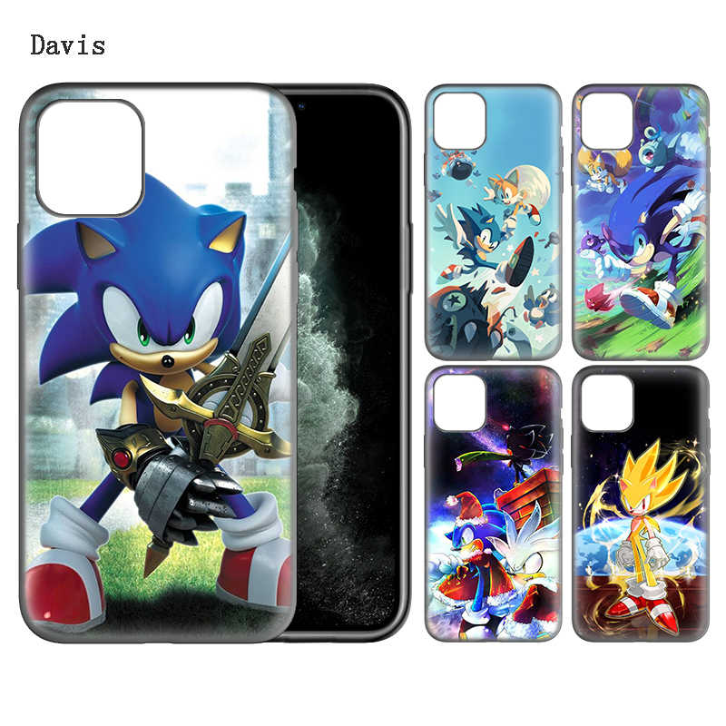 Sonic kirpi silikon ultra ince telefon kılıfı için Apple iPhone 11 Pro Max SE(2020) 7 8 6 6S artı 5 5S X XR XS Max Fundas çapa