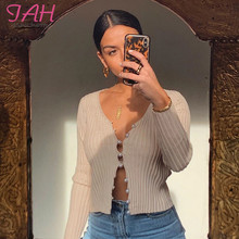Iamhotty Beading Zip-Up Knitted T Shirt Woman V-Neck Skin Color 2019 Autumn Tshirts