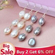 ASHIQI, длинные женские сережки с натуральным жемчугом в стиле барокко, серое пресноводное жемчужное, ручная работа, серебро 925 пробы, висячие серьги, подарок на вечеринку