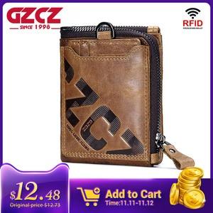 Image 1 - GZCZ Genuine Leather Men Wallet Fashion Coin Purse Card Holder Small Wallet Men Portomonee Male Clutch Zipper Clamp For Money