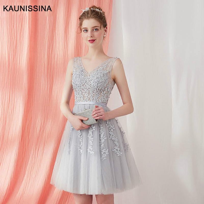 KAUNISSINA Short Cocktail Dresses Floral Appliques Elegant Party Gown V-Neck Sleeveless Lace-Up Back Custom-Made Banquet Dress