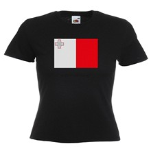 Malta Flag Ladies Lady Fit T Shirt 13 Colours Size 6 - 16(China)