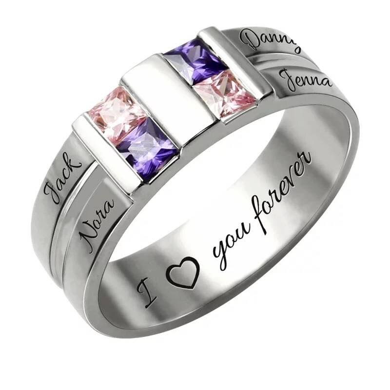 XiaoJing 925 argent sterling nom anneaux personnalisé nom de famille personnalisé et anneau de pierre de naissance donner famille cadeaux uniques livraison gratuite