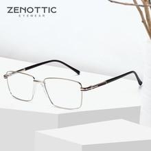 ZENOTTIC квадратные очки, оправа для мужчин, ультра-светильник, металлические оптические очки для близорукости, мужские Модные очки по рецепту, BT7094E