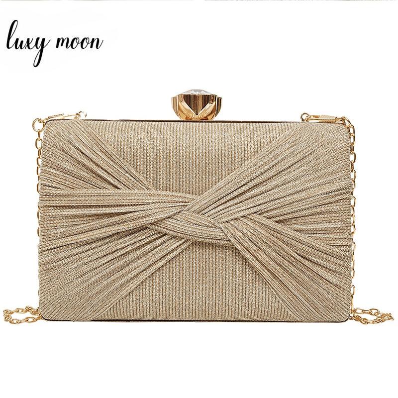 Luxy Moon Gold Clutch Evening Bags Sequin Handbag For Women Wedding Bridal Clutch Party Purse Luxury Shoulder Bag Bolsa ZD1496