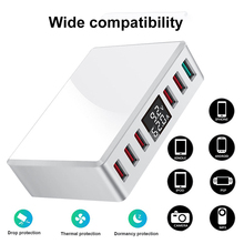 QC 3.0 6 Ports USB Charger Smart Charging Multi-Port Travel Charger LCD Digital Display Station Multi-Port USB Charging Plug US multi port usb wall charger 75w 4 ports