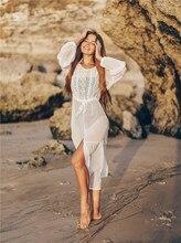 Женское длинное пляжное платье кафтан, белое кружевное платье туника размера плюс, пляжная одежда, лето 2020