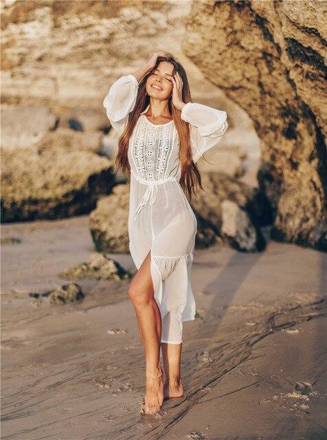 Weiß Spitze Strand Kleid Für Frauen Lange Kaftan Sonne Beachwear Kleider 2020 Sommer Sommerkleider Plus Größe Tunika Robe Blanche Saida de