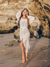 White Lace Beach Dress For Women Long Kaftan Sun Beachwear Dresses 2020 Summer Sundresses Plus Size Tunic Robe Blanche Saida De