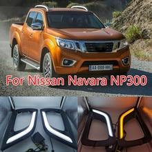 цена на Black gloss cover For Nissan Navara NP300 2015 2016 turn Signal style Relay 12V LED Daytime Running Light DRL with fog lamp hole