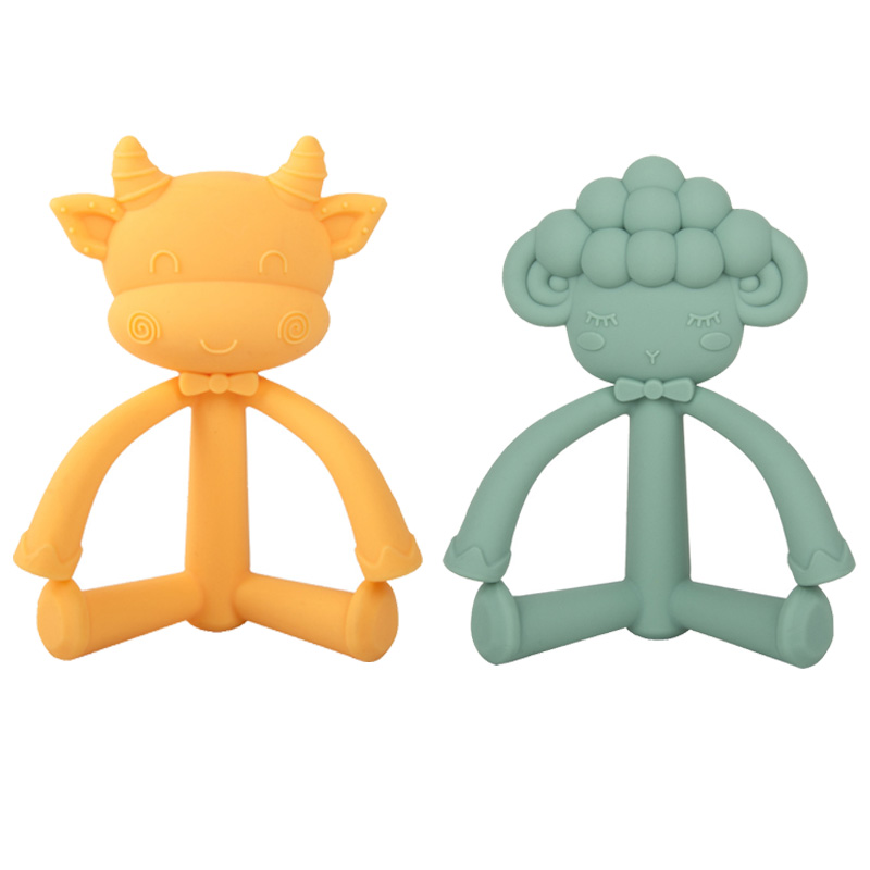 XCQGH Stereoscopic Sheep Cow Cartoon Silicone Baby Teethers Food Grade Silicone Newborn Boy Girl Chew Toy