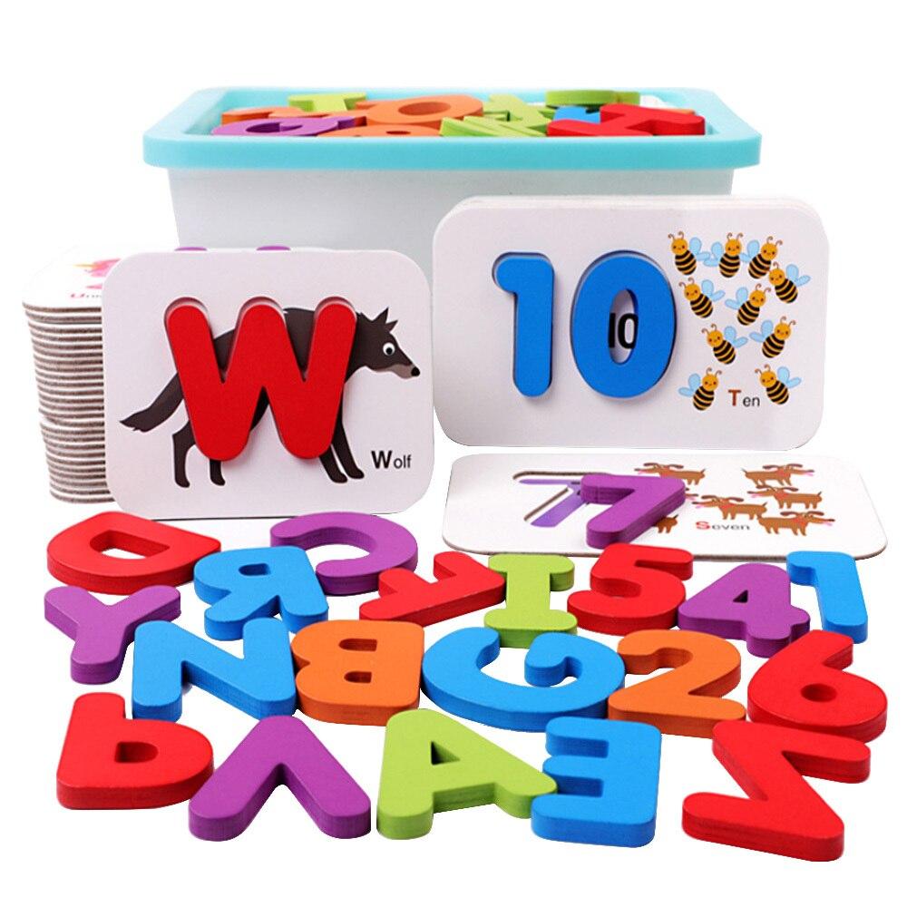 En bois éducation précoce bébé apprentissage ABC Alphabet lettres cartes cognitives jouets éducatifs pour enfants numéro animal Puzzle