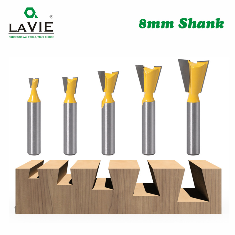 LA VIE 5pcs 8mm Shank Dovetail Joint Router Bits Set 14 Degree Woodworking Engraving Bit Milling Cutter For Wood MC02221
