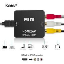 Kebidu venda quente hdmi ao conversor de rca av/cvsb l/r caixa de vídeo hd 1080p 1920*1080 60hz hdmi2av suporte ntsc pal saída hdmi ao av