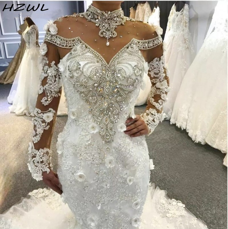 Luxury Mermaid Wedding Dresses High Sheer Neckline Major Beading Crystals Illusion Long Sleeves Bridal Dress Lace Up Back