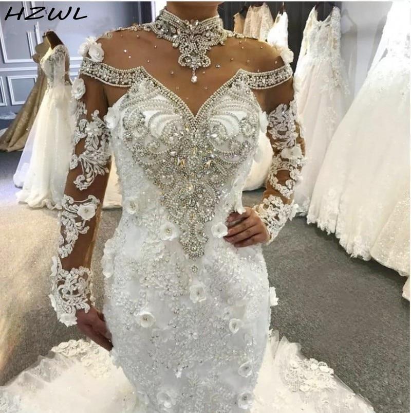 Luxury Mermaid Wedding Dresses High Sheer Neckline Major Beading Crystals Illusion Long Sleeves Bridal Dress Lace Up Back