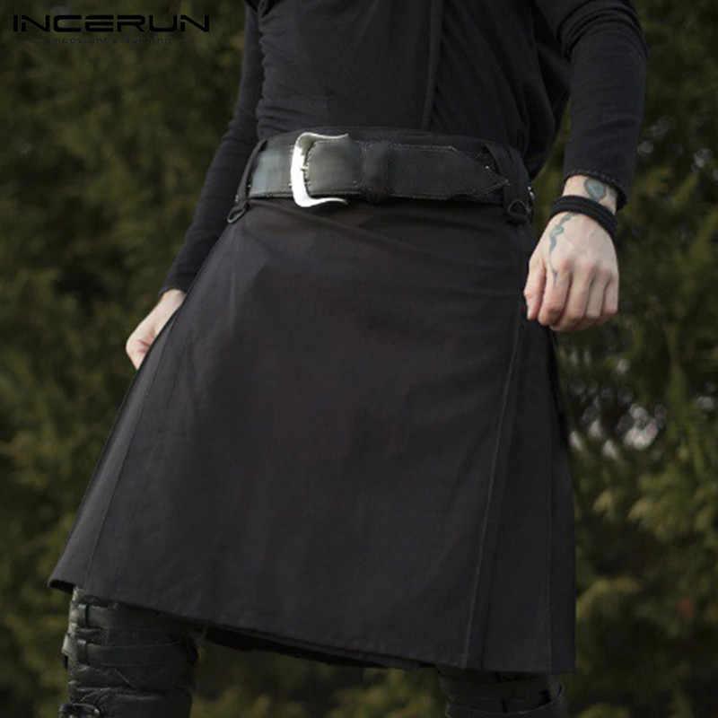 INCERUN Mannen Schotse Kilt Traditionele Geplooide Gothic Punk Stijl Schotse Rokken Broek Mannen Effen Kleur Kilts Vintage Rokken