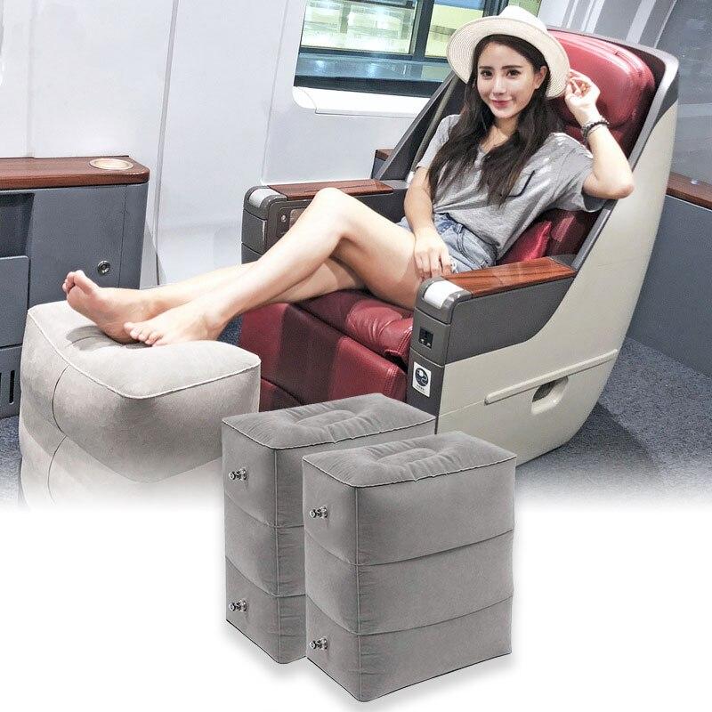 Lnflatable Travel Foot Rest Pillow Leg Rest Portable Car Bus Footrest 3 Layers Adjustable Kids Flight Sleeping Resting Pillow