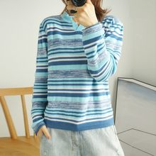 Cotton sweater women's long-sleeved pullover spring fall new loose striped thin section knitted top(China)