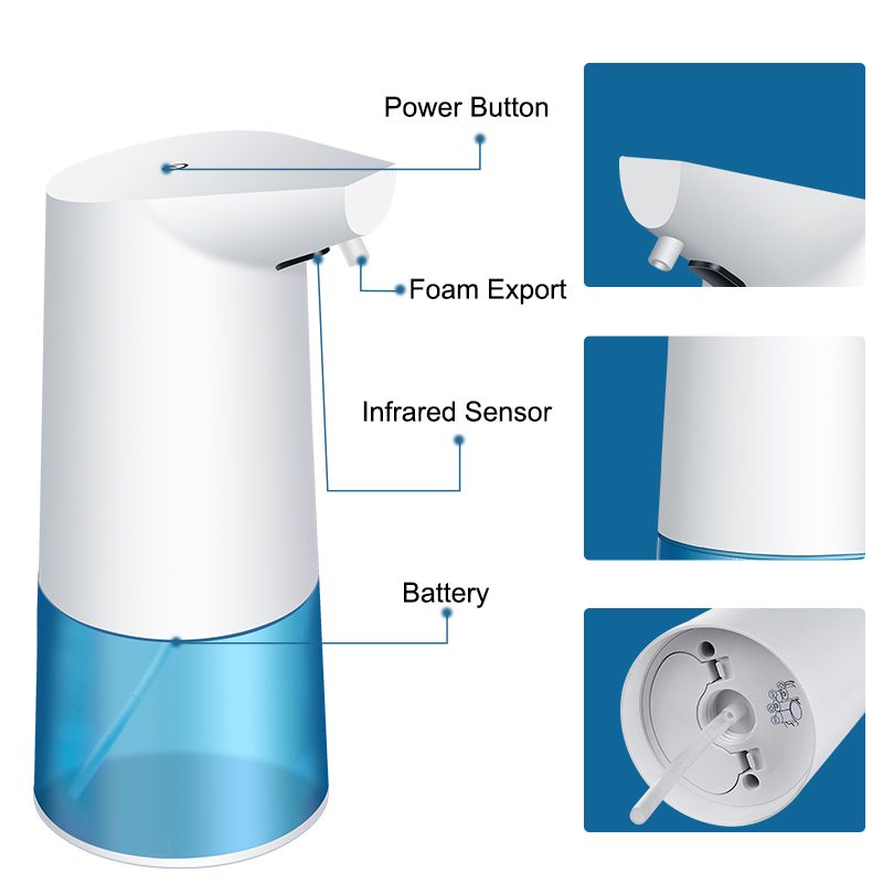 350ml Hand Free and Battery Operated Soap Dispenser with Smart Sensor and Extremely Rapid Foaming for Kitchen and Bathroom 1