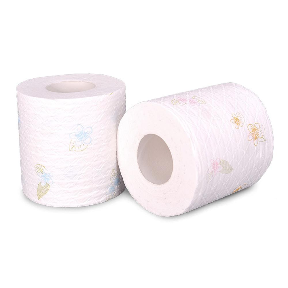1 Roll 4 Layers Toilet Paper Instant Paper Soft Bath Tissue Toilet Paper Thickening Toughness Strength Foral Pattern Randomly
