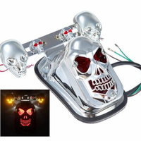 Chrome Skeleton Style Modified Motorcycle LED Skull Taillight With Turn Signal Motorbike Tail Lights Plus Steering Styling 1