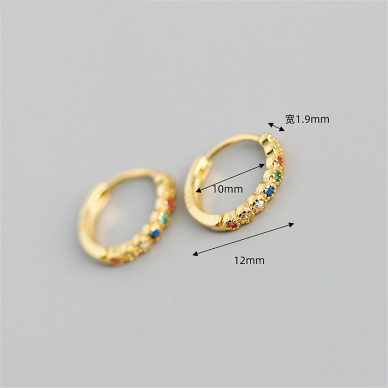 WANTME Minimalist Real 100% 925 Sterling Silver Round Color Crystal Zircon Stud Earring for Women Fine Wedding Jewelry Gift 2020