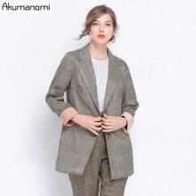 Vintage Single Breasted Plaid Women Blazer Plus Size 5XL Jackets Femal