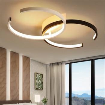 Nordic Minimalist Style Led Ceiling Lamp Creative Art Double Circle Design Living Room Bedroom Coffee Acrylic Ceiling Lighting