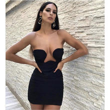 Vero Sinly 2021 Sexy Strapless Backless Mesh Ruched Black Mini Women Summer Dress Designer Fashion Evening Party Dress Vestido