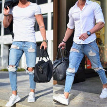 2019 Boutique Casual Skinny Jeans Men Straight Denim Jeans/Male Pants Skinny men's jeans are light colored and ripped(China)