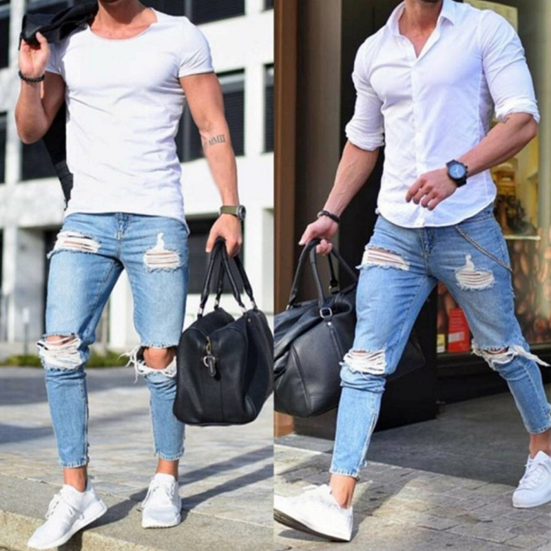 2019 Boutique Casual Skinny   Jeans   Men Straight Denim   Jeans  /Male Pants Skinny men's   jeans   are light colored and ripped