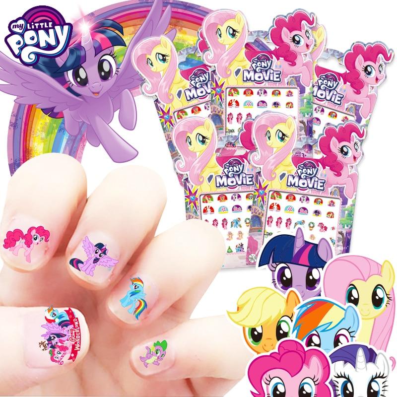 My Little Pony Sticker Unicorn Horse Princess Elsa Anna Snow Minnie Mickey Mouse Snow White Make Up Toy Nail Sticker Kids Gift