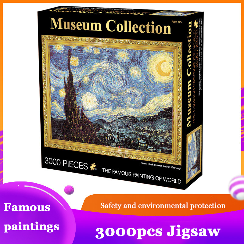 Jigsaw Puzzle 3000 Pieces World Famous Starry Night Thicker Landscape Puzzle Educational Toys For Adults Children Kids Game Toys