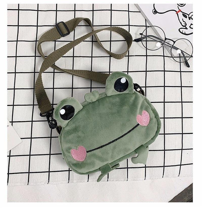 Kawaii Frog Shoulder Backpack Crossbody Bag Coin Purse Messenge Bags Plush Toy Girls Girlfriend Kids Children Gift