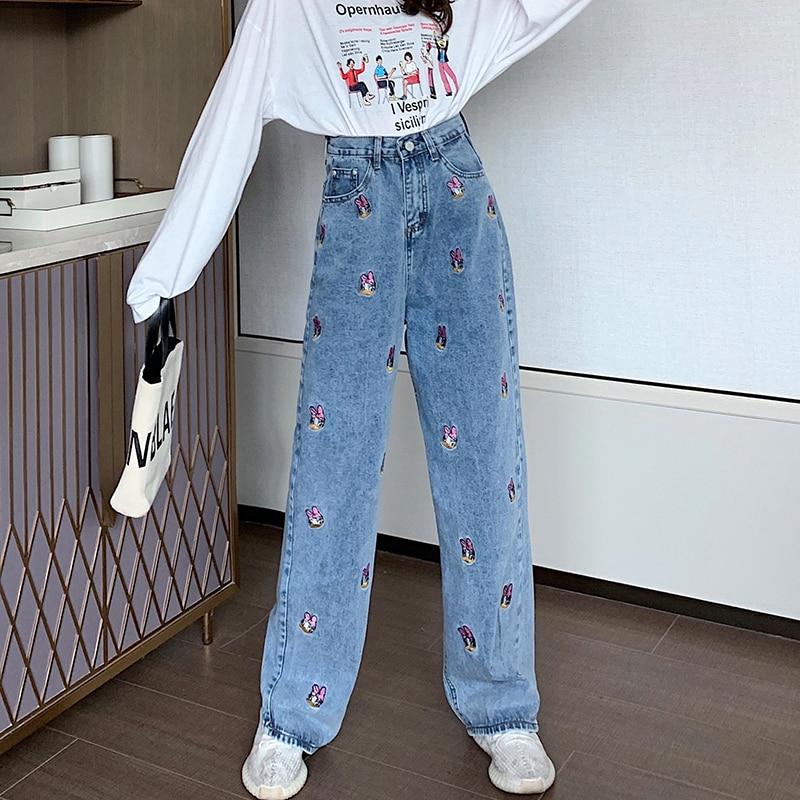 Autumn Jeans Plaid Pants Plaid Personality Hip Hop New Female Wide Leg Pants Fashion Harajuku BF Vintage Lattice Punk Fun Pants