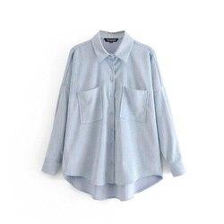 Женская Вельветовая рубашка в стиле бойфренда Tangada, большие размеры, 6P59