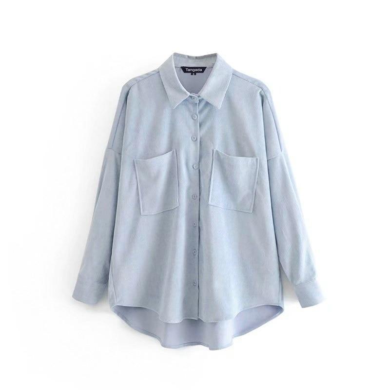 Tangada women preppy oversize corduroy shirt blusas mujer de moda boyfriend style shirt womens tops 6P59(China)