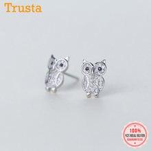 Trustdavis – boucles d'oreilles hibou en argent Sterling 925 véritable, brillantes, cadeau de souhait pour femmes et filles, bijoux de fête DS2006