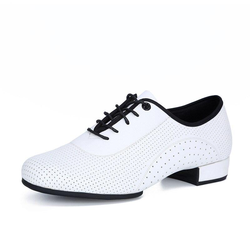 Men Latin Ballroom Dance Shoes 3cm Low Heel  Cow Leahter Chacha Tango Moderm Dance Shoes White Black Plus Size 46