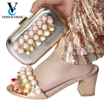 Champagne High Quality Italian Design Crystal Sandals And Purse Set Fashion Ladies High Heels  Shoes And Bag Set For DresS